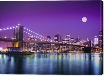Leinwandbild Brooklyn Bridge und die Skyline von NYC mit Vollmond