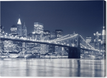 Leinwandbild Brooklyn Bridge und Manhattan Skyline At Night, New York City