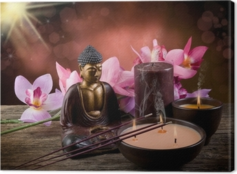Leinwandbild Buddah witn Kerze und Räucherstäbchen