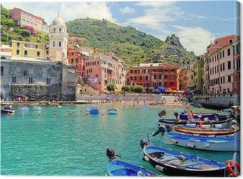 Leinwandbild Bunte Hafen von Vernazza, Cinque Terre, Italien