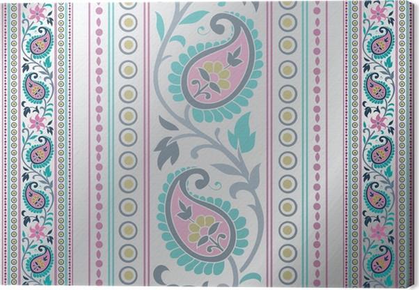 Leinwandbild Bunte Paisley-Blumenmuster, Hochzeits-Schablone, Indien ...