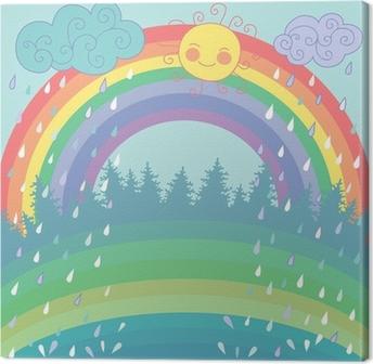Leinwandbild Bunter Hintergrund mit einem Regenbogen, regen, Sonne im Cartoon-Stil
