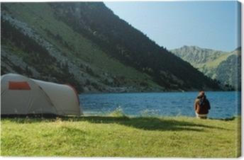 Leinwandbild Camping sauvage au Lac de Gaube dans les Pyrénées