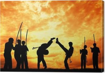 Leinwandbild Capoeira bei Sonnenuntergang