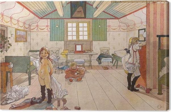 Leinwandbild Carl Larsson - Schlafzimmer von Müttern und Mädchen - Reproductions