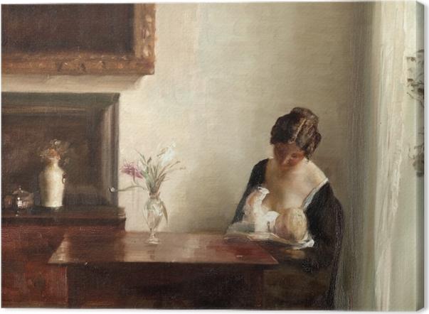 Leinwandbild Carl Vilhelm Holsøe - Interieur mit Frau und Kind - Reproductions