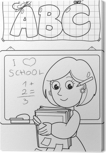 Leinwandbild Cartoon Färbung Lehrer mit Bücher und Tafel • Pixers ...