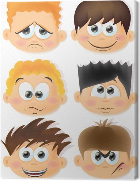 Leinwandbild Cartoon lustige Kinder mit Emotionen • Pixers® - Wir ...