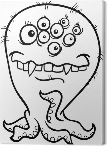 Leinwandbild Cartoon-Monster Illustration für Färbung • Pixers ...
