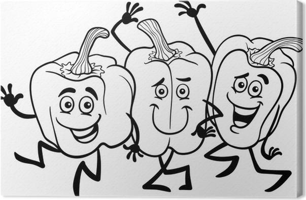 Leinwandbild Cartoon Paprika Gemüse für Malbuch • Pixers® - Wir ...
