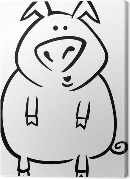 Leinwandbild Cartoon Schwein für Malvorlagen • Pixers® - Wir leben ...