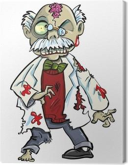 Leinwandbild Cartoon Zombie Wissenschaftler mit Köpfchen zeigt. Isoliert auf weiß