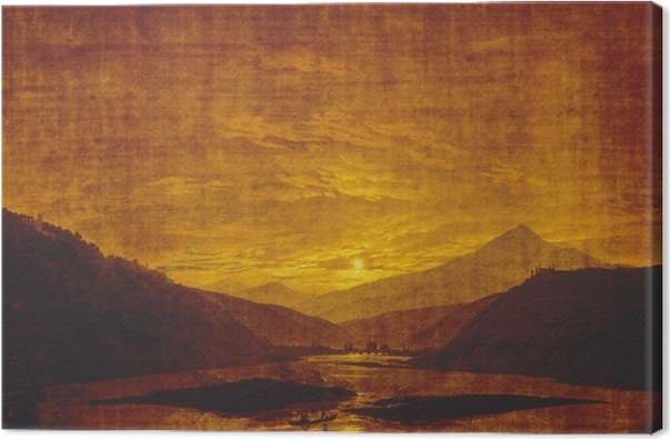 Leinwandbild Caspar David Friedrich - Flusslandschaft bei Nacht - Reproductions