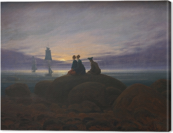 Leinwandbild Caspar David Friedrich - Mondaufgang am Meer - Reproductions