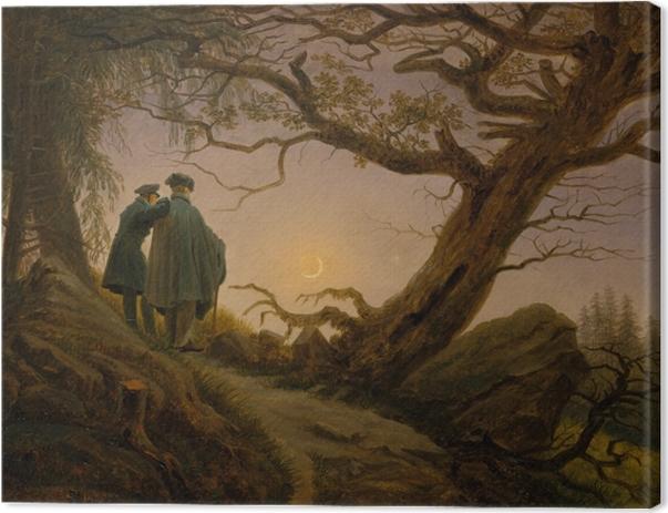 Leinwandbild Caspar David Friedrich - Zwei Männer in Betrachtung des Mondes - Reproductions