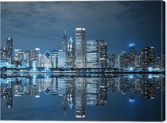 Leinwandbild Chicago bei Nacht