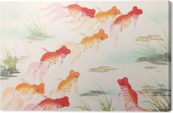 Leinwandbild Chinesische Goldfisch Malerei