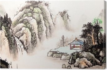 Leinwandbild Chinesische Landschaft Aquarell painting__