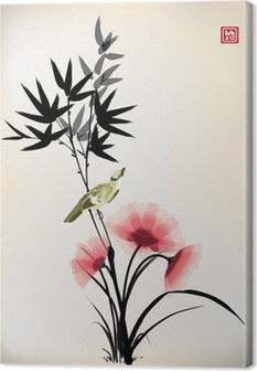 Leinwandbild Chinesische Tusche Stil Blume Vogel Zeichnung
