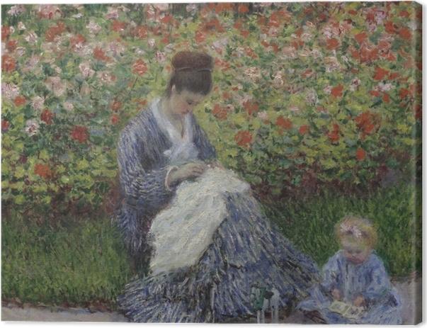 Leinwandbild Claude Monet - Camille Monet mit Kind im Garten des Künstlers in Argenteuil - Reproduktion