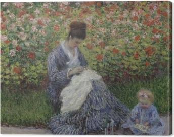 Leinwandbild Claude Monet - Camille Monet mit Kind im Garten des Künstlers in Argenteuil