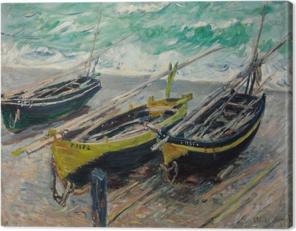 Leinwandbild Claude Monet - Drei Fischerboote - Reproduktion
