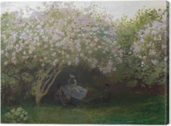 Leinwandbild Claude Monet - Flieder, graues Wetter oder Entspannung unter dem Flieder - Reproduktion