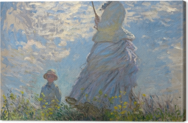Leinwandbild Claude Monet - Frau mit Sonnenschirm - Reproduktion