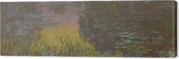 Leinwandbild Claude Monet - Seerosen bei Sonnenuntergang - Reproduktion