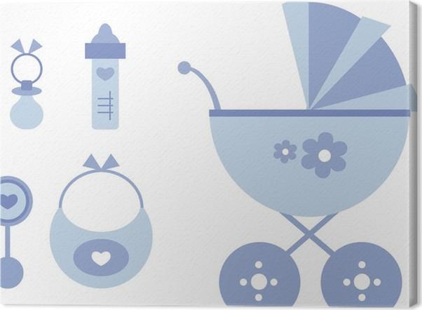Leinwandbild Clipart-Set: Kinderwagen und Baby-Accessoires (blau ...