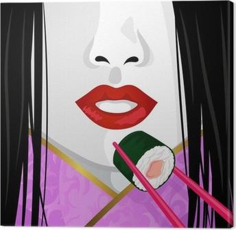 Leinwandbild Close up auf dem Gesicht der japanischen Frau isst Sushi