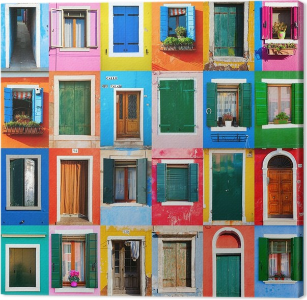 leinwandbild collage von t ren und fenstern aus burano pixers wir leben um zu ver ndern. Black Bedroom Furniture Sets. Home Design Ideas