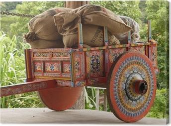 Leinwandbild Costa Rican Ox Cart mit Säcke Kaffee geladen