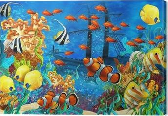 Leinwandbild Das Korallenriff - Illustration für die Kinder