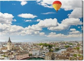 Leinwandbild Das Luftbild der Stadt Zürich
