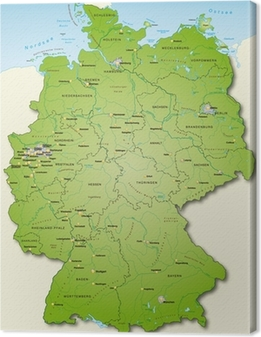 Leinwandbild Deutschland Übersichtskarte grün 40cm x 52cm