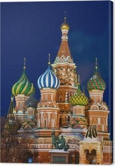 Leinwandbild Die Basilius-Kathedrale in der Nacht, Moskau