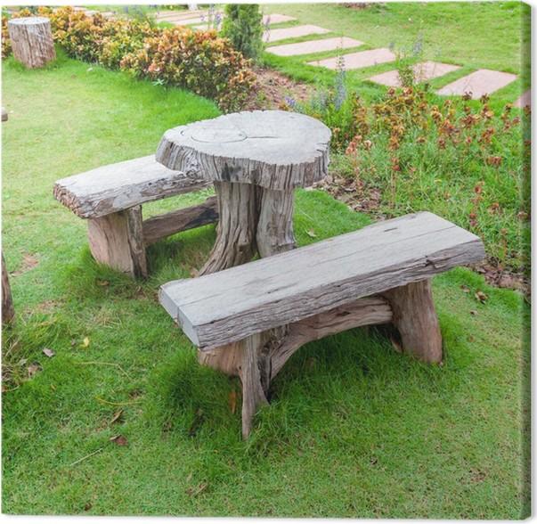 Leinwandbild Die Leere Holztisch Und Bank Im Garten Oder Park