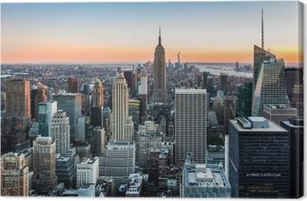 Leinwandbild Die Skyline von New York bei Sonnenuntergang