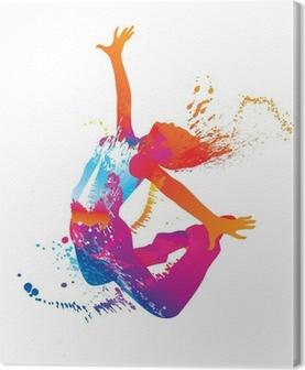 Leinwandbild Die tanzenden Mädchen mit bunten Flecken und Spritzer auf weißen