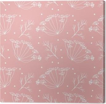 Leinwandbild Dill oder Fenchel Blumen und verlässt Muster.