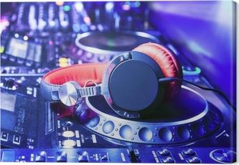 Leinwandbild DJ-Mixer mit Kopfhörern