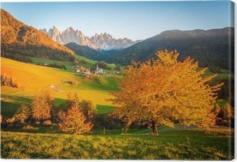 Leinwandbild Dolomiten, Val di Funes, Herbstlandschaft