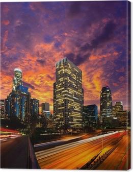 Leinwandbild Downtown LA Los Angeles Nacht sunset Skyline Kalifornien