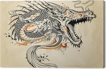 Leinwandbild Drache Doodle Sketch Tattoo Vector