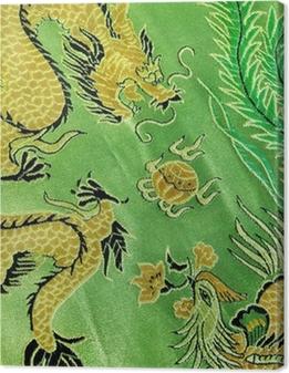 Leinwandbild Drache und Phönix, chinesische Seidenstickerei