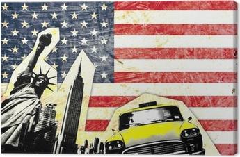 Leinwandbild Drapeau américain avec statue de la liberté Taxi jaune