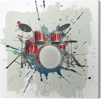 Leinwandbild Drum Kit auf Grunge-Hintergrund