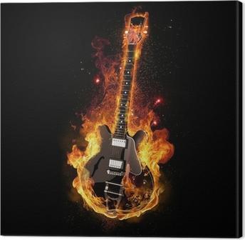Leinwandbild E Gitarre unter Feuer