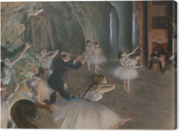 Leinwandbild Edgar Degas - Ballettprobe auf der Bühne - Reproduktion